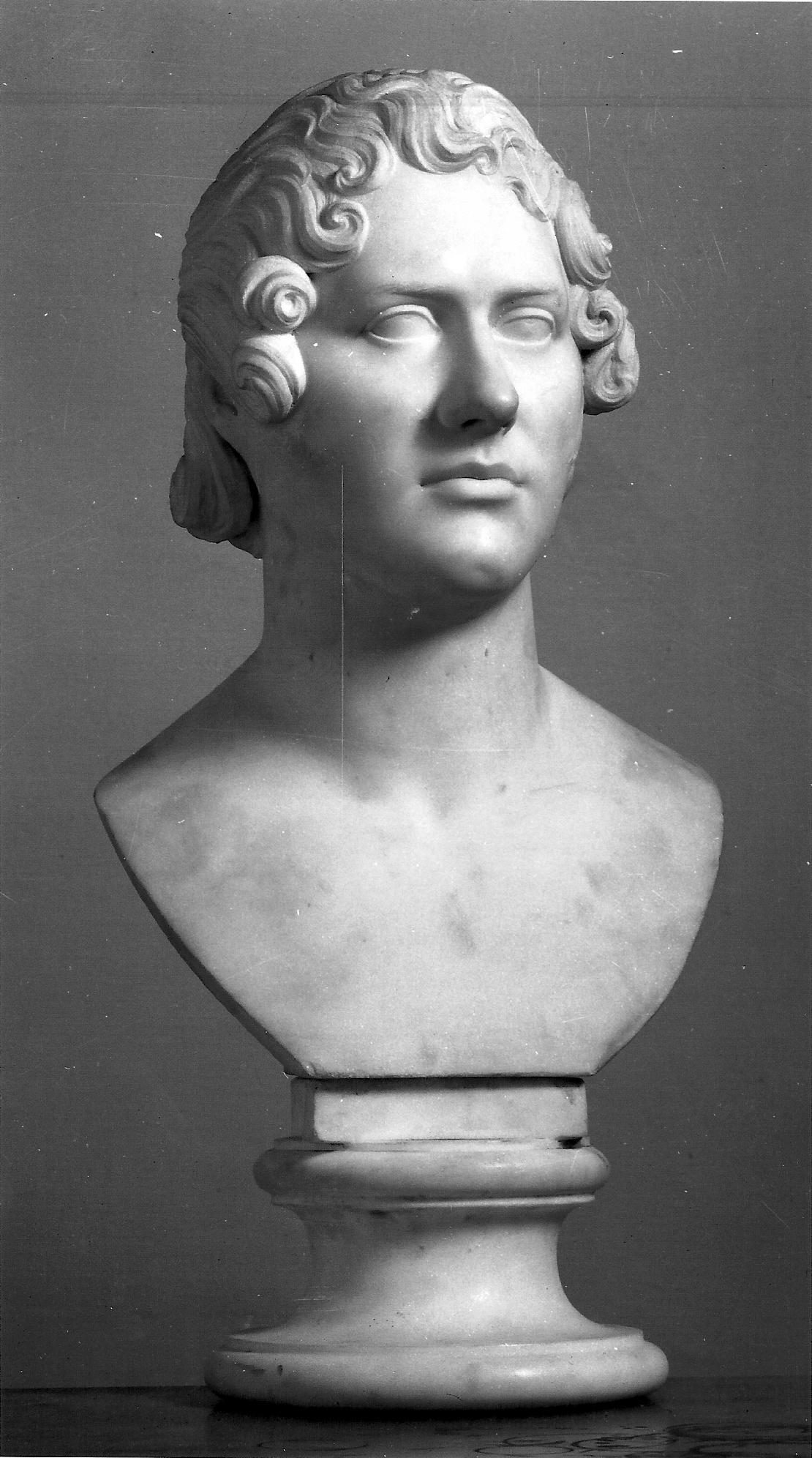 Lorenzo Bartolini, Busto-ritratto di Lord Byron (1822; marmo, 47 x 32 x 26 cm; Firenze, Galleria d'Arte Moderna di Palazzo Pitti)