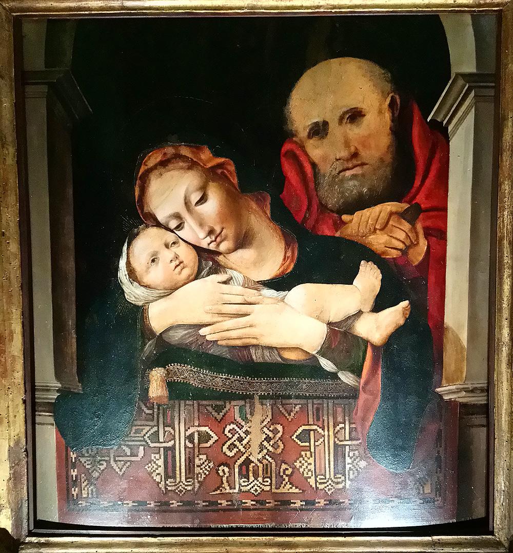 Pittore veneto-lombardo della fine del XV secolo (Lorenzo Lotto?), Sacra Famiglia (1495-1500; tempera e olio su tavola, 75 x 50 cm; Recanati, Museo Diocesano)