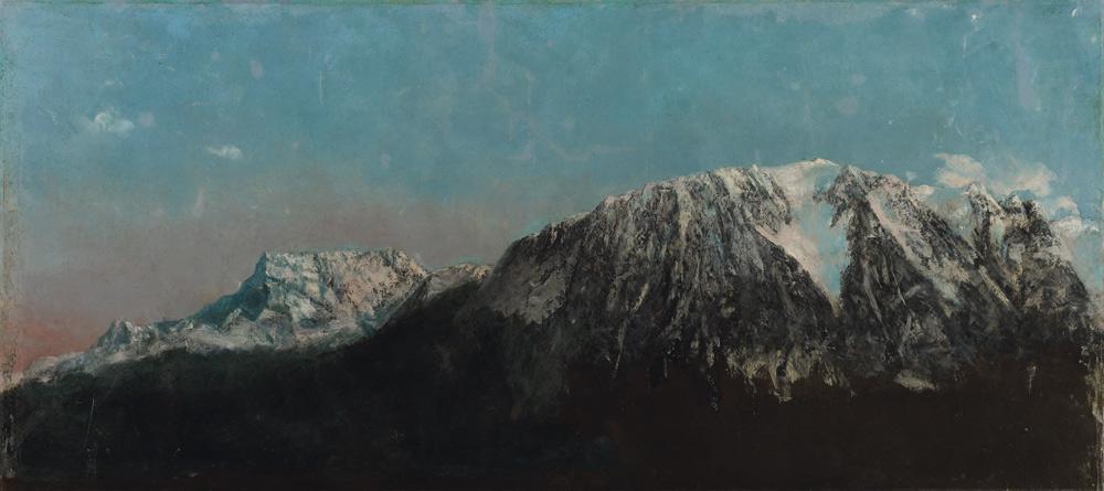 Gustave Courbet, Panorama delle Alpi (1876 circa; olio su tela, 64 x 140 cm; Ginevra, Musées d'art et d'histoire)