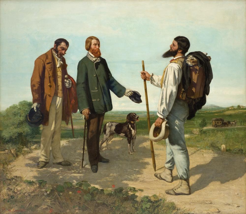 Gustave Courbet, L'incontro o Buongiorno signor Courbet (1854; olio su tela, 132,4 x 151 cm; Montpellier, Musée Fabre)