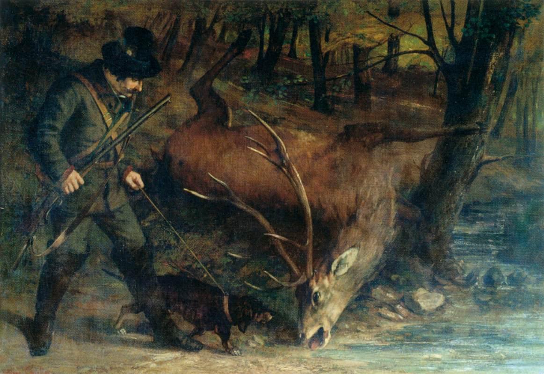 Gustave Courbet, Il cacciatore tedesco (1859; olio su tela, 119 x 177 cm; Lons-le-Saunier, Musée des Beaux-Arts)