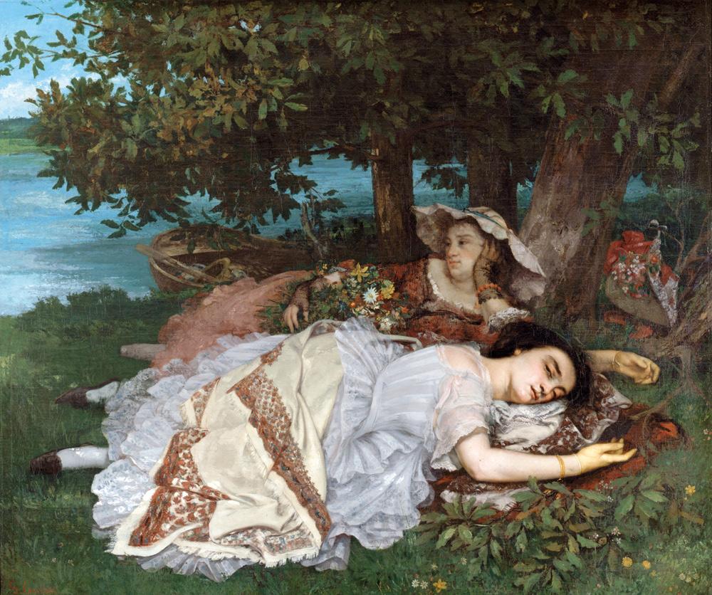 Gustave Courbet, Fanciulle sulle rive della Senna (1856-1857; olio su tela, 174 x 206 cm; Parigi, Petit Palais, Musée des Beaux-Arts de la Ville de Paris)