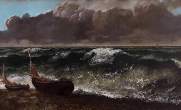 Gustave Courbet, L'onda (1869; olio su tela, 71,5 x 116,8 cm; Le Havre, Musée d'art moderne André Malraux)