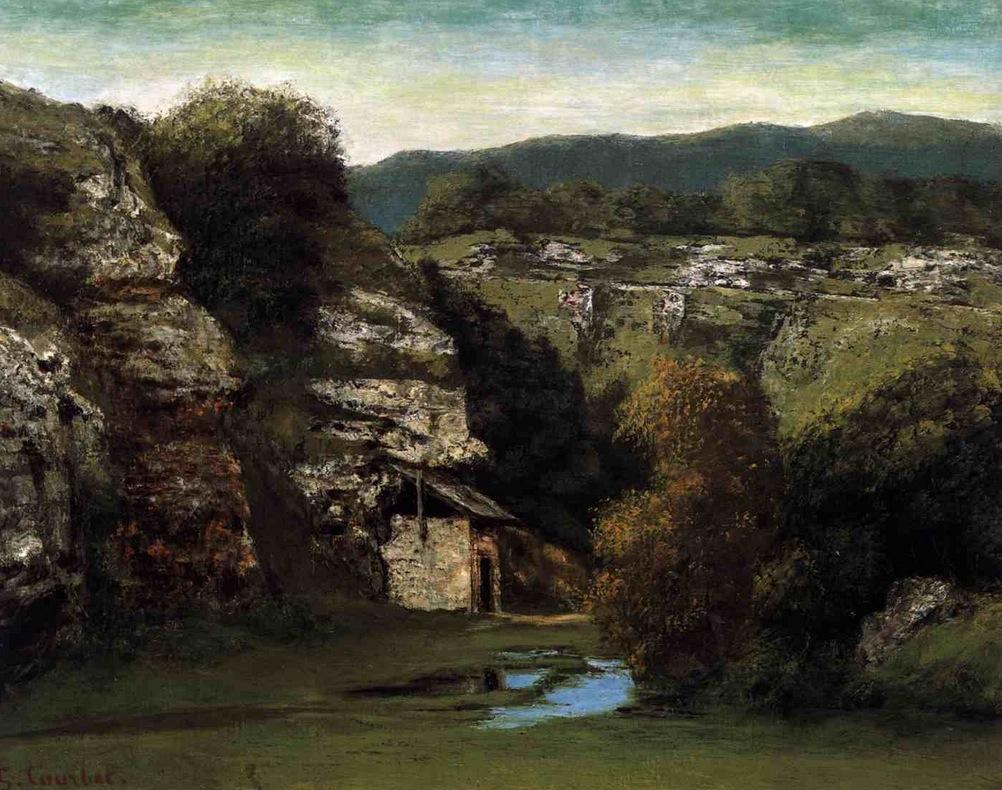 Gustave Courbet, Paesaggio di Ornans (1855-1860; olio su tela, 65 x 81 cm; Vienna, Gemäldegalerie der Akademie der bildenden Künste)