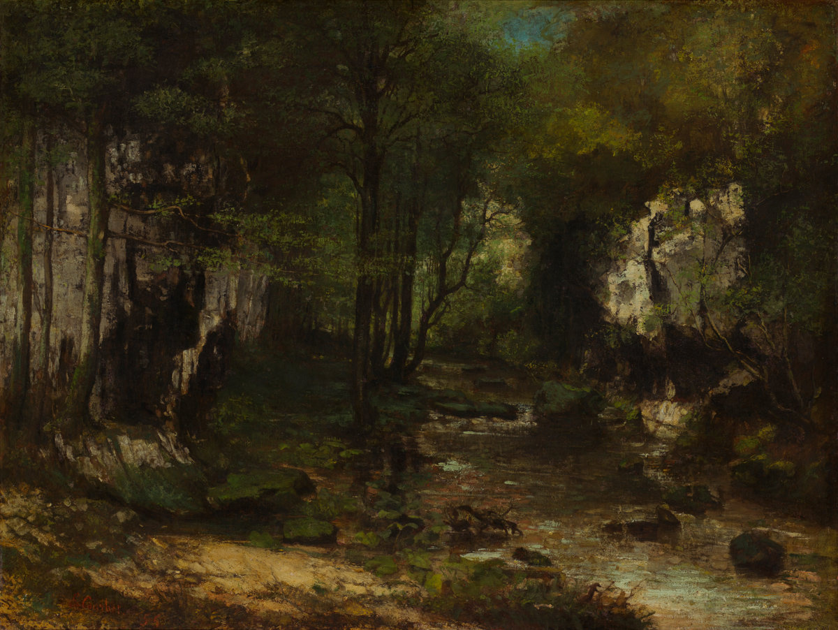 Gustave Courbet, Il ruscello del Puits noir (1855; olio su tela, 104 x 137 cm; Washington, National Gallery)
