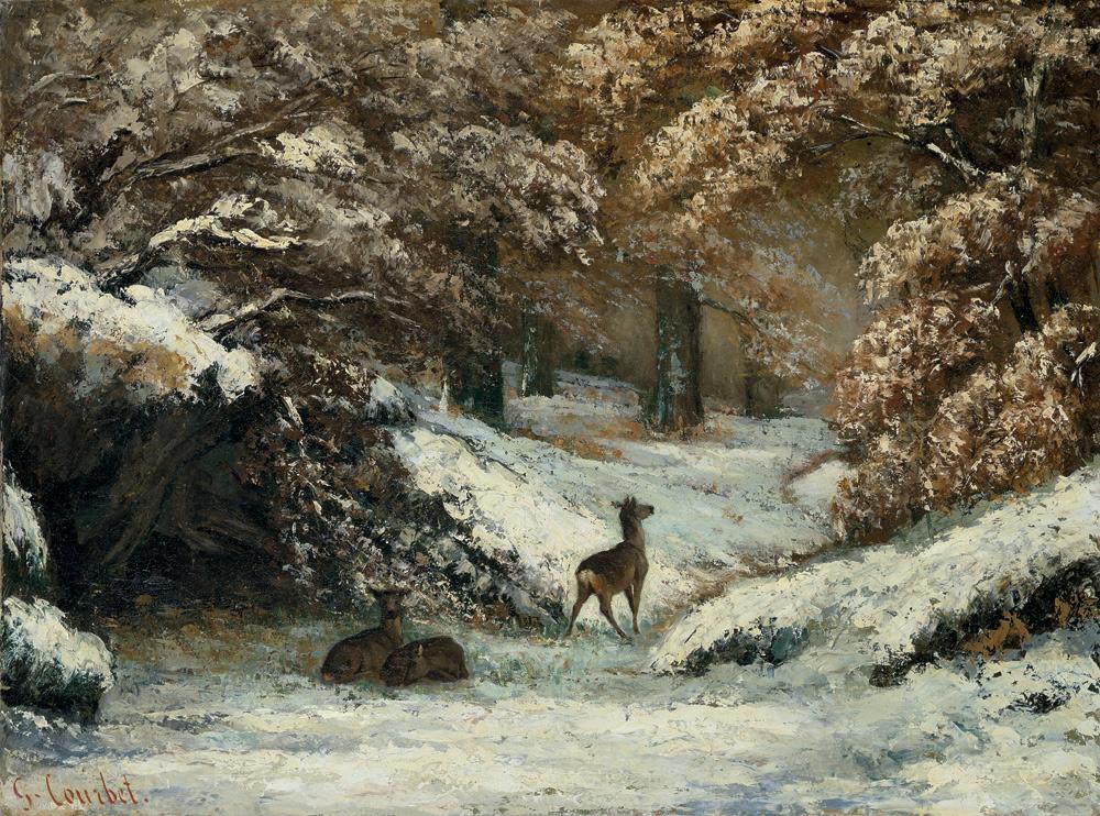 Gustave Courbet, Il rifugio dei caprioli in inverno (1866; olio su tela, 54,1 x 72,8 cm; Lione, Musée des Beaux-Arts)