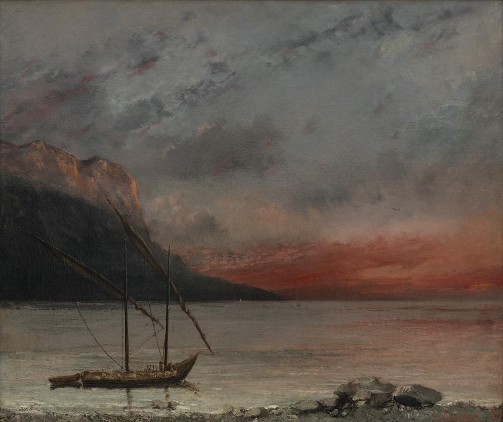Gustave Courbet, Tramonto sul lago Lemano (1874; olio su tela, 54,5 x 65,4 cm; Vevey, Musée Jenisch)
