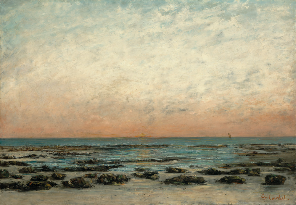Gustave Courbet, Tramonto: spiaggia a Trouville (1866 circa; olio su tela, 71,5 x 102,3 cm; Hartford, Wadsworth Atheneum Museum of Art)