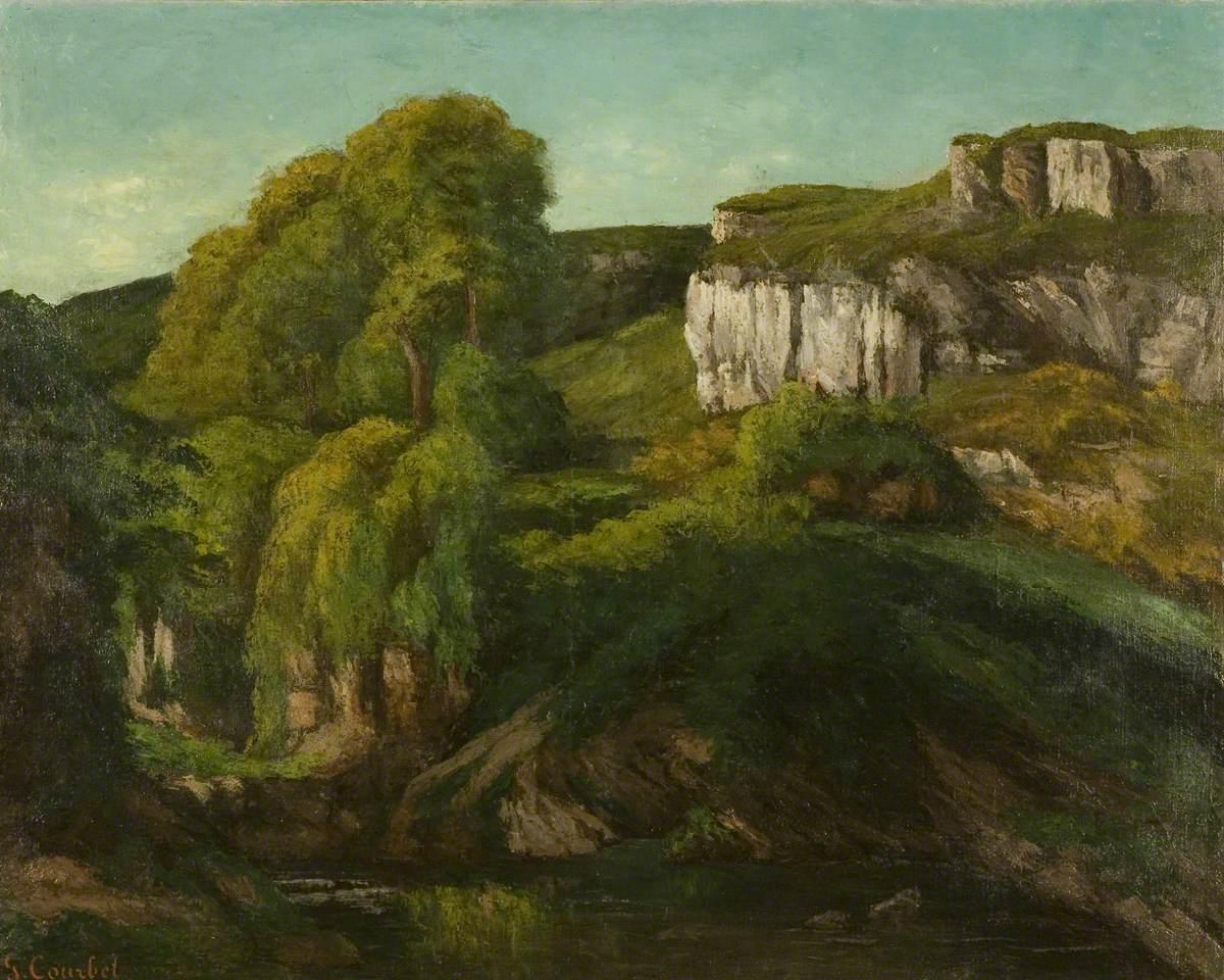 Gustave Courbet, Valle della Loue nei pressi di Ornans (1872; olio su tela, 80 x 100 cm; Bristol, Bristol Museums & Art Gallery)