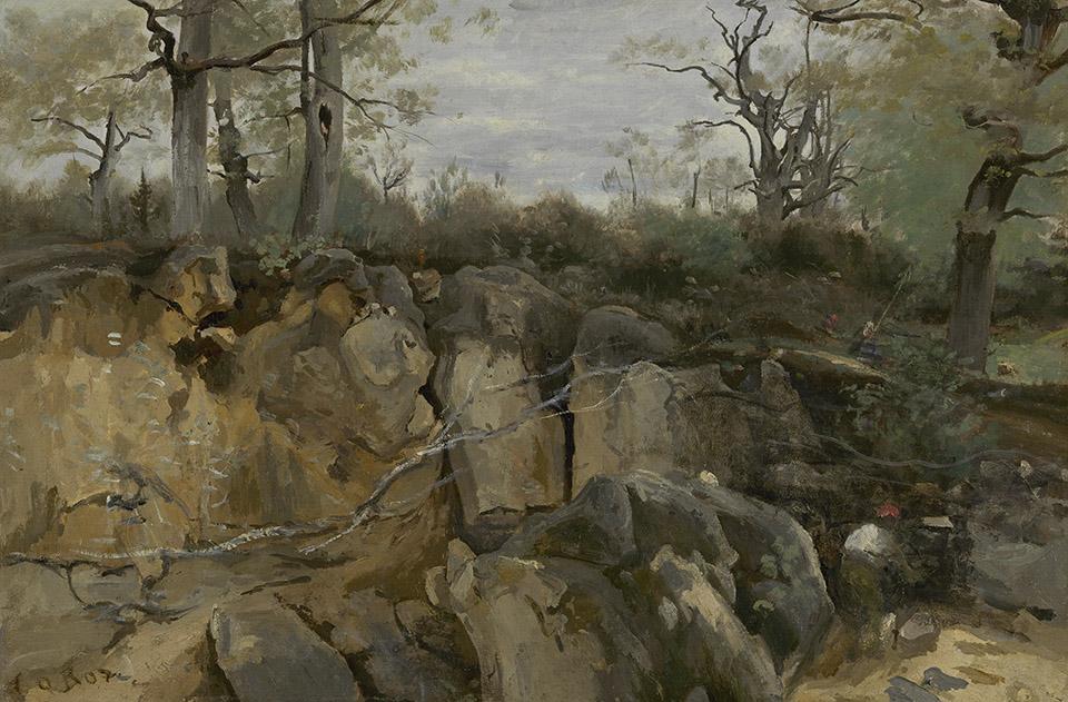 Jean-Baptiste Camile Corot, Fontainebleu, miniera abbandonata (1850; olio su carta incollata su tela, 29 x 43 cm; L'Aia, De Mesdag Collectie)