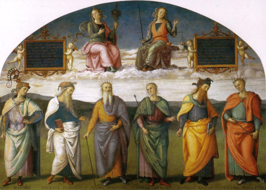 Realtà: l'affresco dei sei savi antichi nel Collegio del Cambio (Perugia)