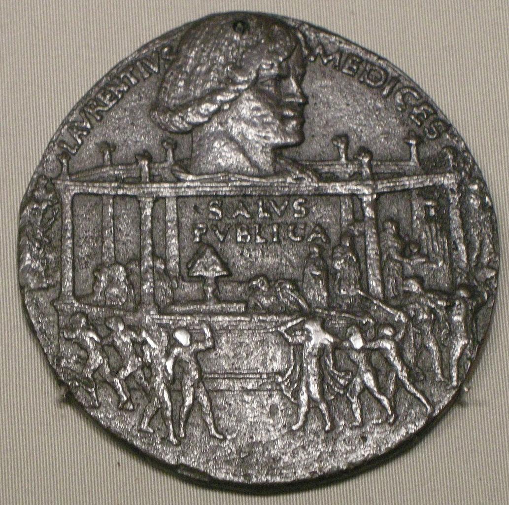 Bertoldo di Giovanni, Medaglia della congiura dei Pazzi, recto (1478; bronzo, 6,56 x 6,56 cm; Varie collocazioni)