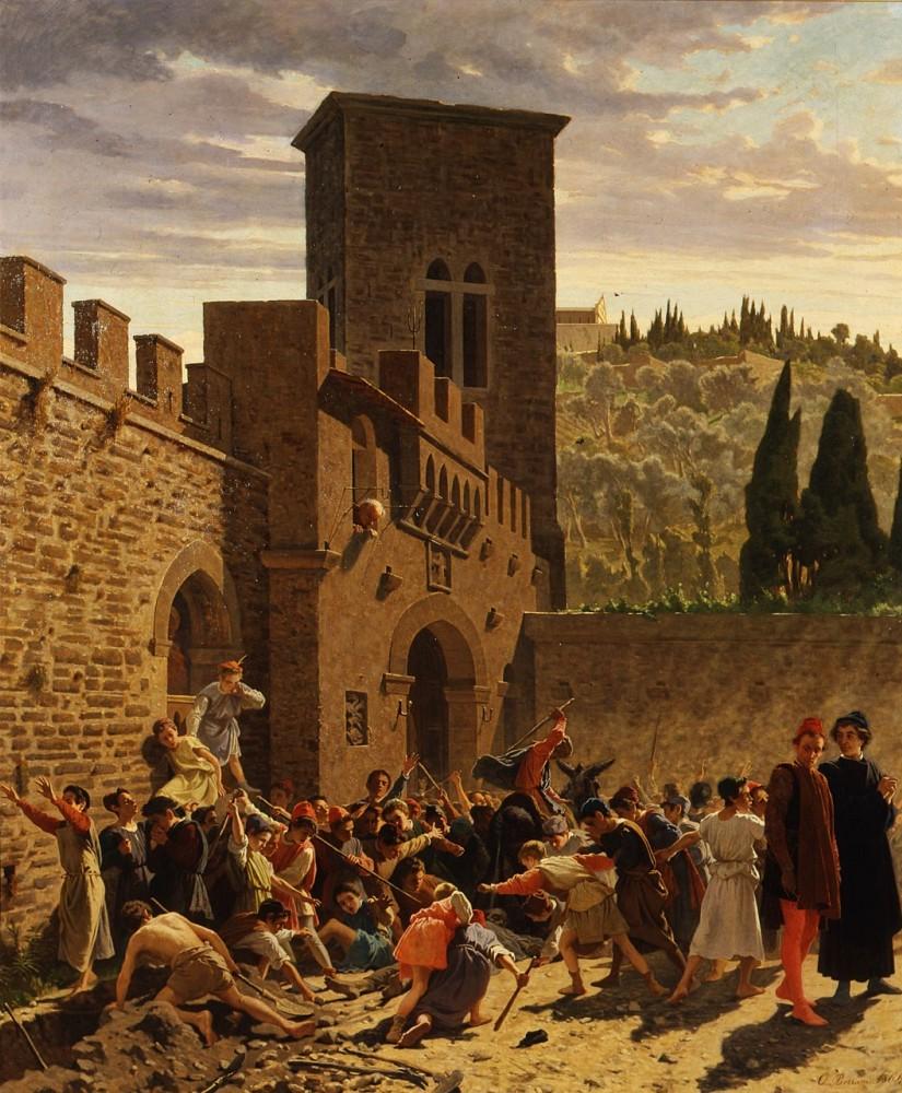 Odoardo Borrani, Il cadavere di Jacopo de' Pazzi (1864; olio su tela, 145 x 121 cm; Firenze, Galleria d'Arte Moderna di Palazzo Pitti)