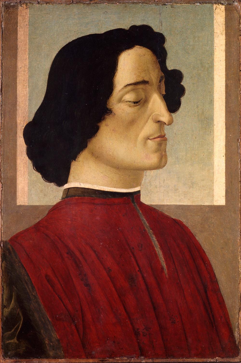 Sandro Botticelli, Ritratto di Giuliano de' Medici (1478 circa; tempera su tavola, 54 x 36 cm; Bergamo, Accademia Carrara)