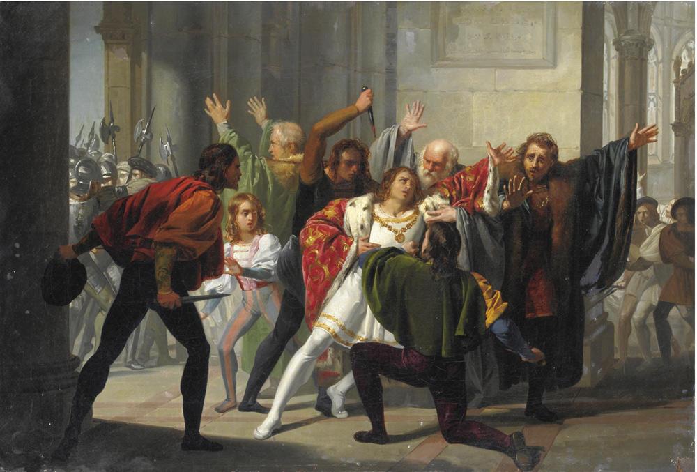 Stefano Ussi, La congiura dei Pazzi (seconda metà del XIX secolo; olio su tela, 41 x 61 cm; Collezione privata)