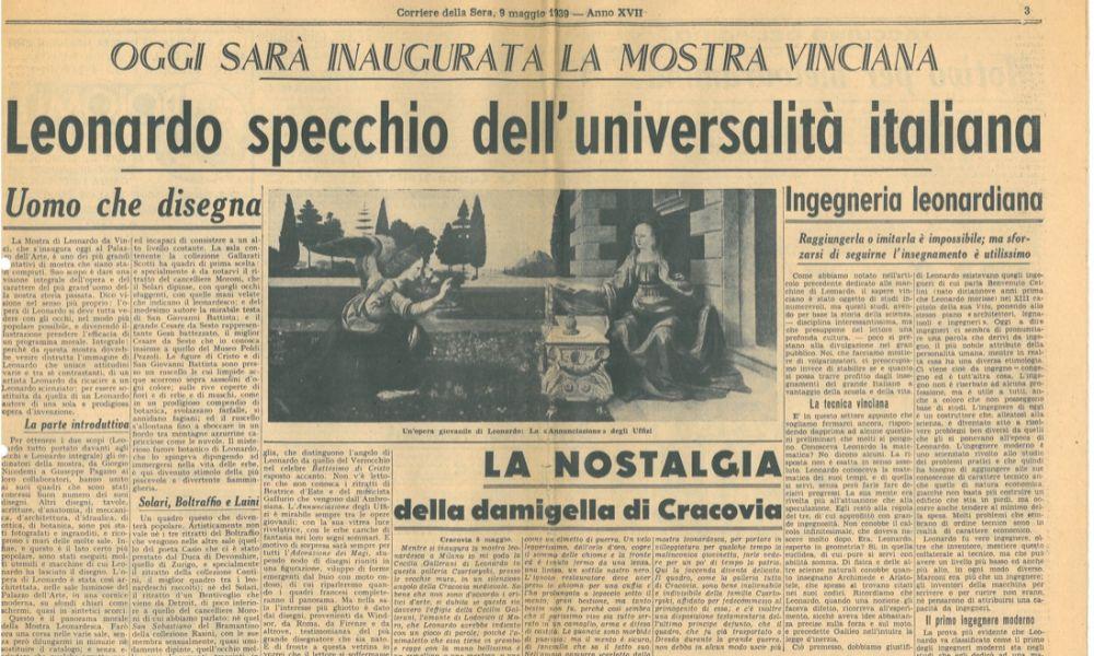 Articolo del Corriere della Sera, del 1939, con la notizia dell'inaugurazione della mostra di Leonardo