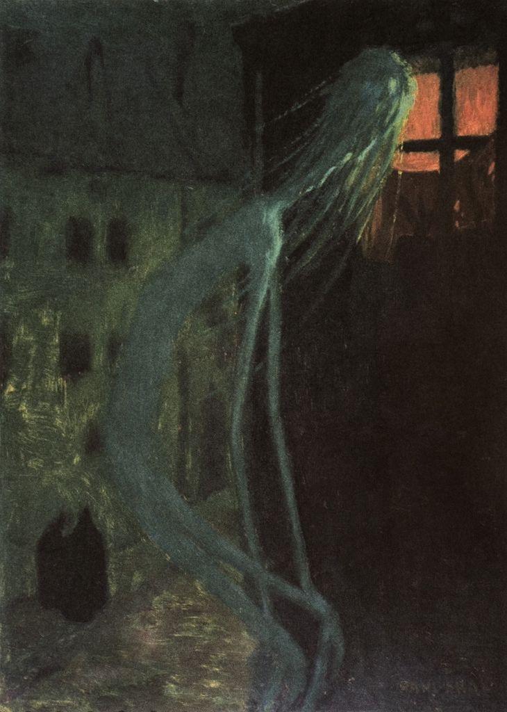 Jaroslav Panuška, Duch mrtvé matky, Lo spirito della madre defunta (1900 circa; olio su cartone, 68 x 48 cm; Pardubyce, Východočeská galerie v Pardubicích)
