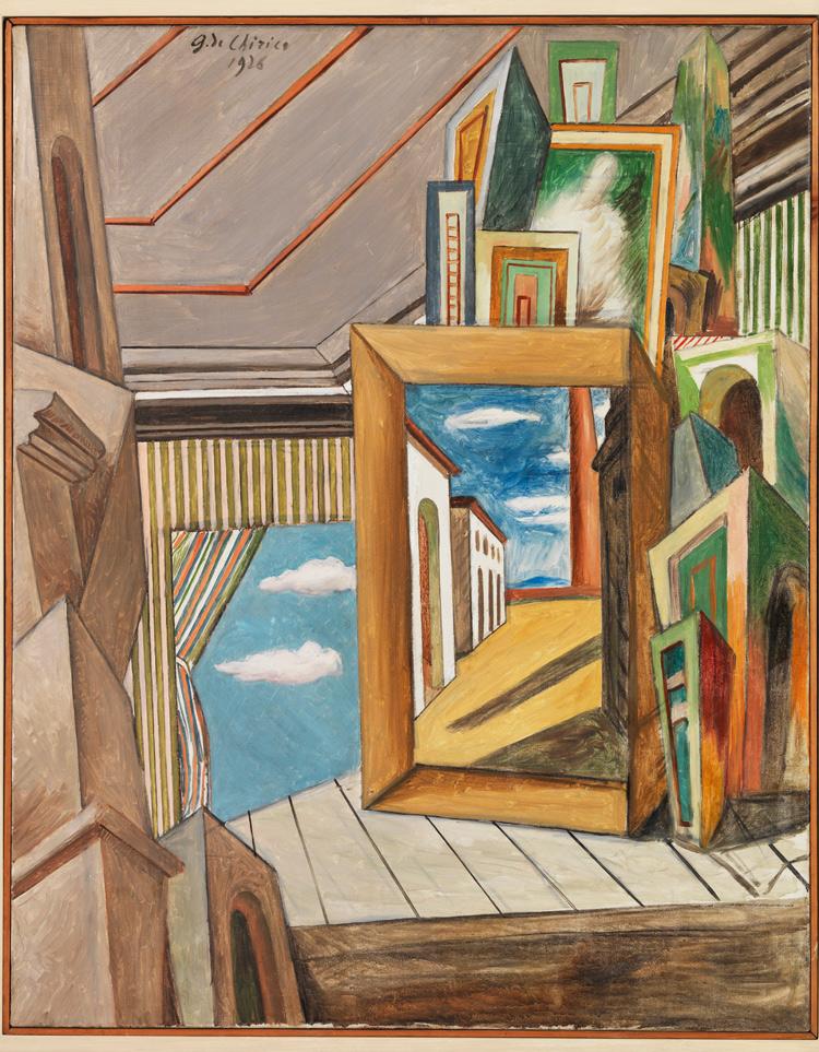 Giorgio De Chirico, Interno metafisico (1926; olio su tela, 93 x 73 cm; Mart, Museo Museo di Arte Moderna e Contemporanea di Trento e Rovereto)