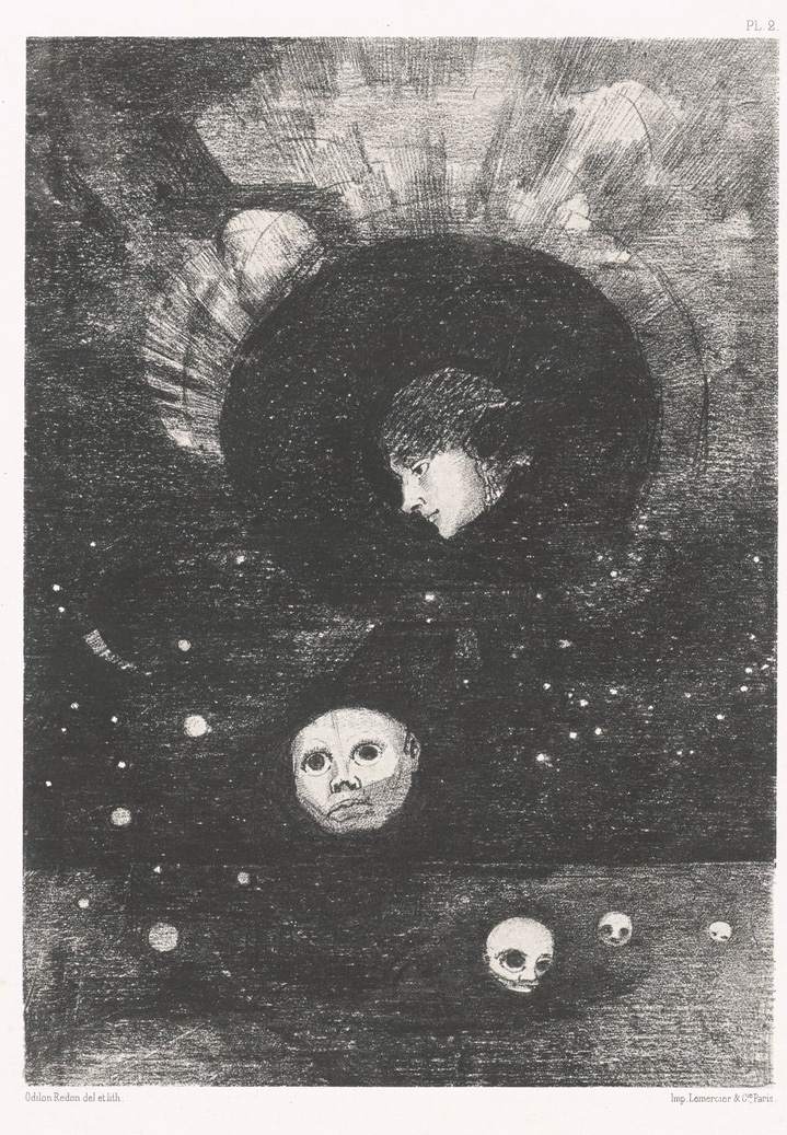 Odilon Redon, Germination, tavola della serie Dans le rêve (1878; litografia, 27,1 x 19,5 cm; New York, MoMA)