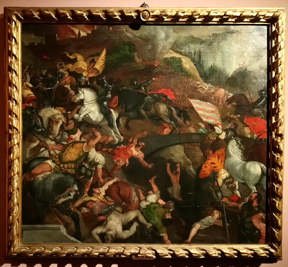 Pittore veneto della seconda metà del XVI secolo (Leonardo Corona?), La battaglia di Cadore, da Tiziano (prima del 1577; olio su tela, 121 x 134 cm; Firenze, Uffizi)