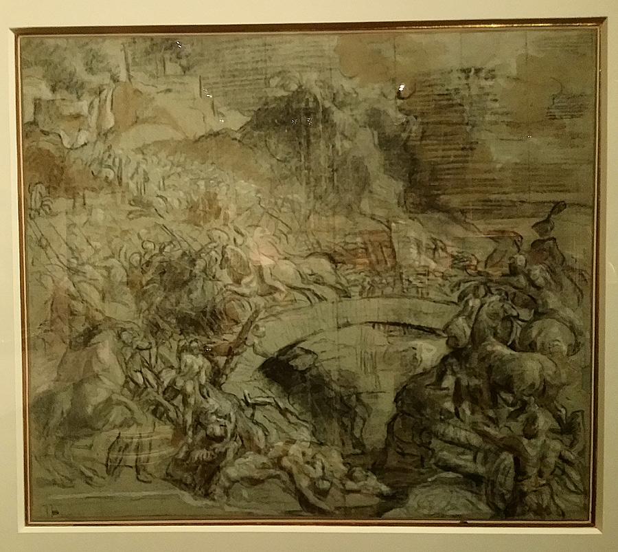 Tiziano, Studio per la Battaglia di Cadore (1537 circa; carboncino e matita nera, acquerello bruno, rialzato di gesso e acquerello bianco su carta azzurra, riquadrato a matita nera, 383 x 442 mm; Parigi, Louvre, Département des arts graphiques)