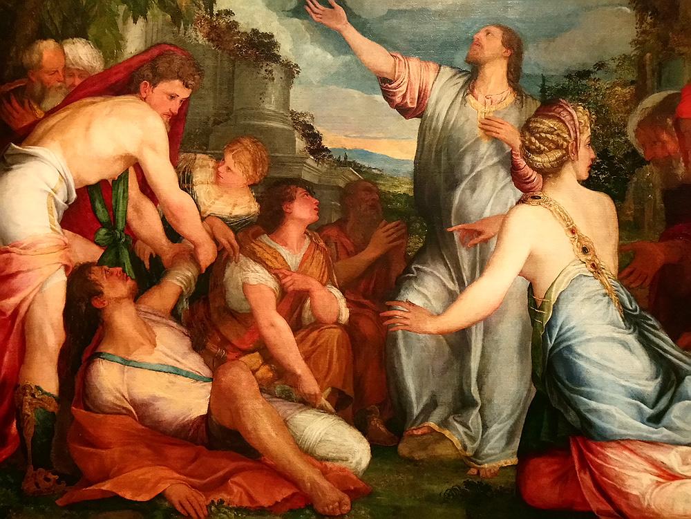 Giuseppe Porta Salviati, Resurrezione di Lazzaro (1543 circa; olio su tavola, 162 x 264 cm; Venezia, Fondazione Giorgio Cini)