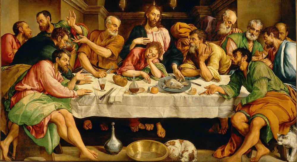 Jacopo Bassano, Ultima cena (1547-1548; olio su tela, 168 x 270 cm; Roma, Galleria Borghese)