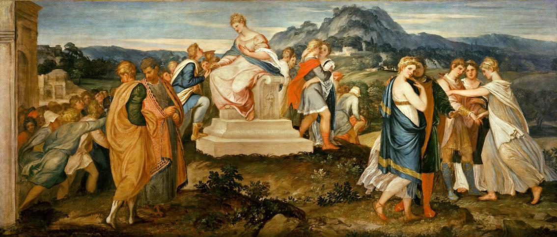 Lambert Sustris, Il cerchio della frode (1541-1542 circa; olio su tela, 155 x 356 cm; Firenze, Fondazione di Studi di Storia dell'Arte Roberto Longhi)