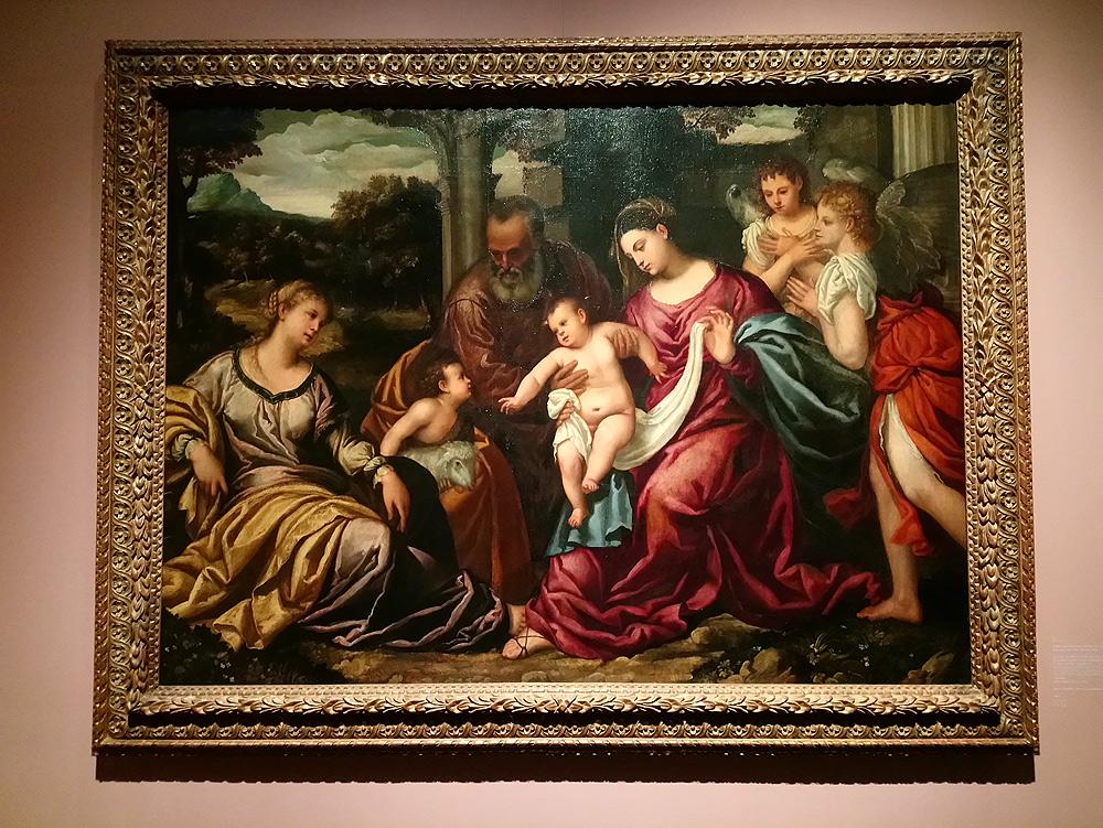 Polidoro da Lanciano, Sacra Famiglia con santa Caterina, san Giovannino e due angeli (1539 circa; olio su tela, 152 x 205 cm; Berlino, Staatliche Museen)