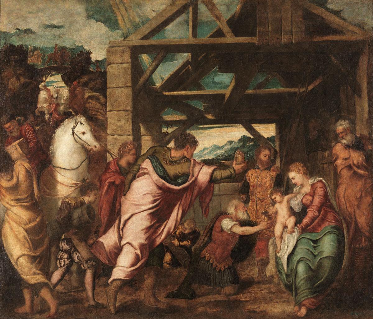 Tintoretto, Adorazione dei magi (1538-1539 circa; olio su tela, 174 x 203 cm; Madrid, Museo Nacional del Prado)