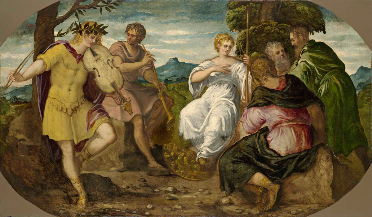 Tintoretto, La contesa tra Apollo e Marsia (1544-1545; olio su tela, 140,5 x 239 cm; Hartford, Wadsworth Atheneum Museum of Art)