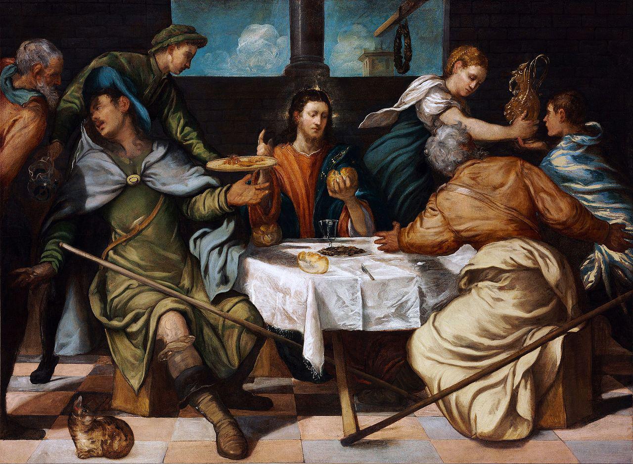Tintoretto, Cena in Emmaus (1543 circa; olio su tela, 156 x 212 cm; Budapest, Szépm?vészeti Múzeum)