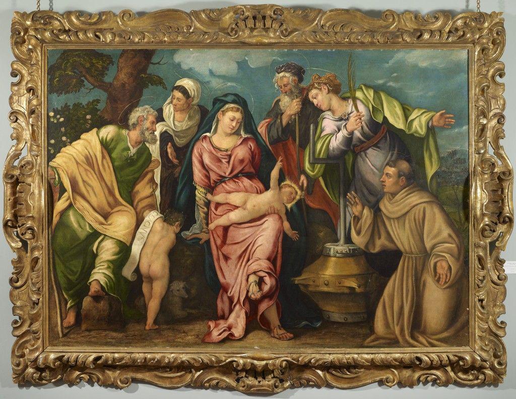 Tintoretto, Madonna col Bambino tra i santi Giacomo, Elisabetta, Giovannino, Zaccaria, Caterina d'Alessandria e Francesco (1540; olio su tela, 171,5 x 244 cm; Collezione privata)