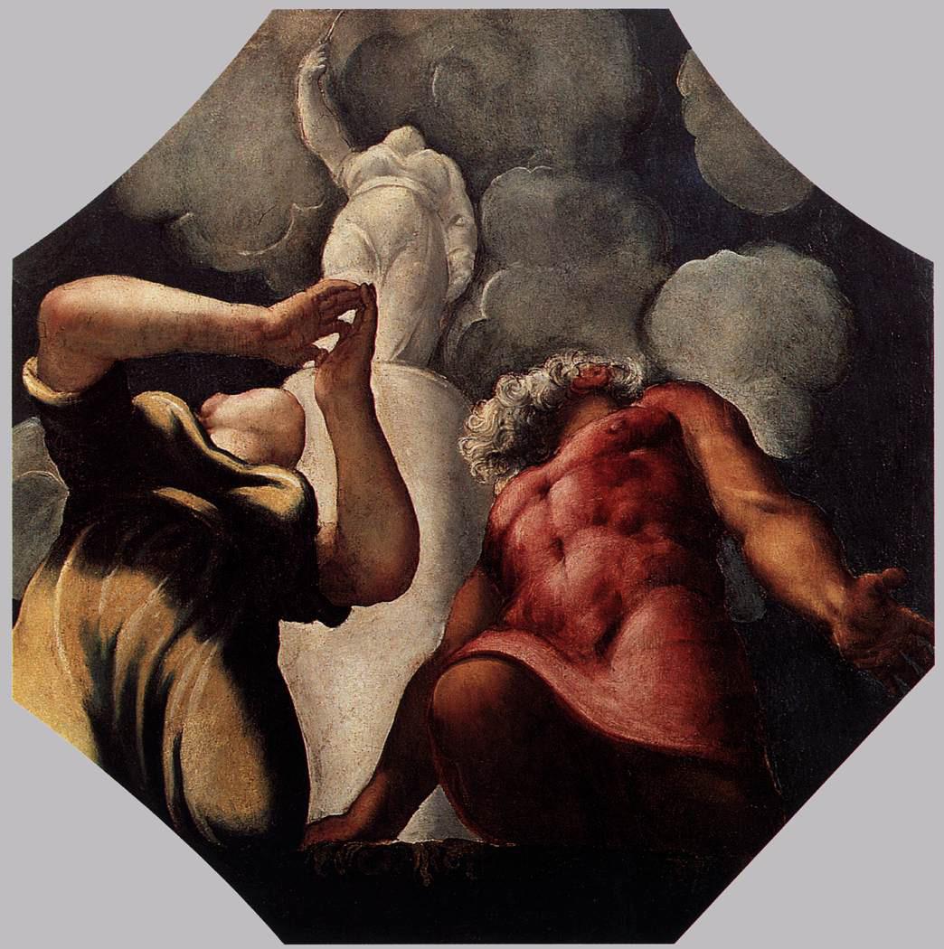 Tintoretto, Deucalione e Pirra in preghiera davanti alla statua della dea Temi (1542 circa; olio su tavola, 127 x 124 cm; Modena, Gallerie Estensi)