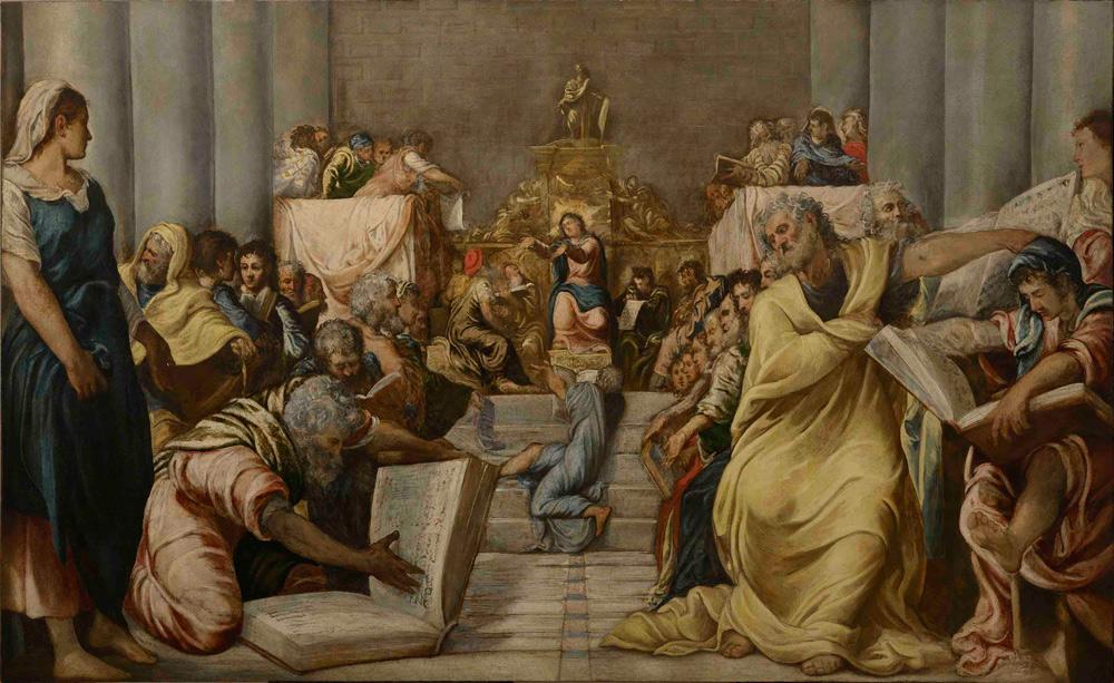 Tintoretto, Disputa di Gesù nel tempio (1545-1546; olio su tela, 197 x 319 cm; Milano, Museo del Duomo)