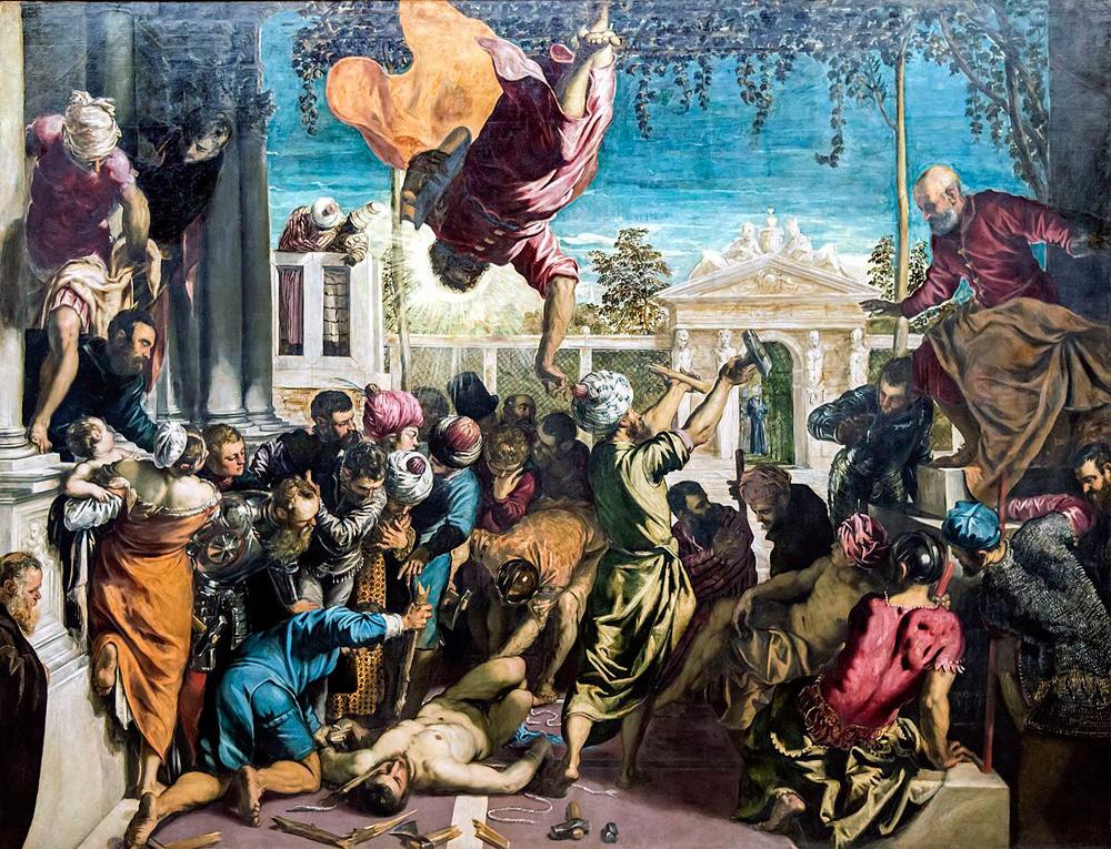 Tintoretto, San Marco libera lo schiavo dal supplizio della tortura, detto anche Miracolo dello schiavo (1548; olio su tela, 415 x 541 cm; Venezia, Gallerie dell'Accademia)