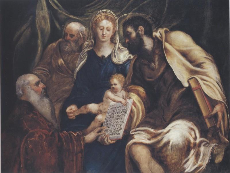 Tintoretto, Sacra Famiglia con il procuratore Girolamo Marcello che giura nelle mani di san Marco (1545 circa; olio su tela, 148 x 193 cm; Collezione privata)