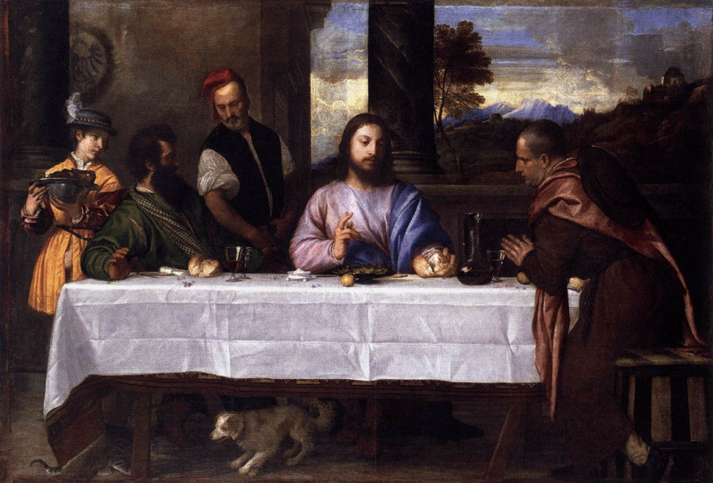 Tiziano, Cena in Emmaus (1533-1534; olio su tela, 160 x 244 cm; Parigi, Louvre)