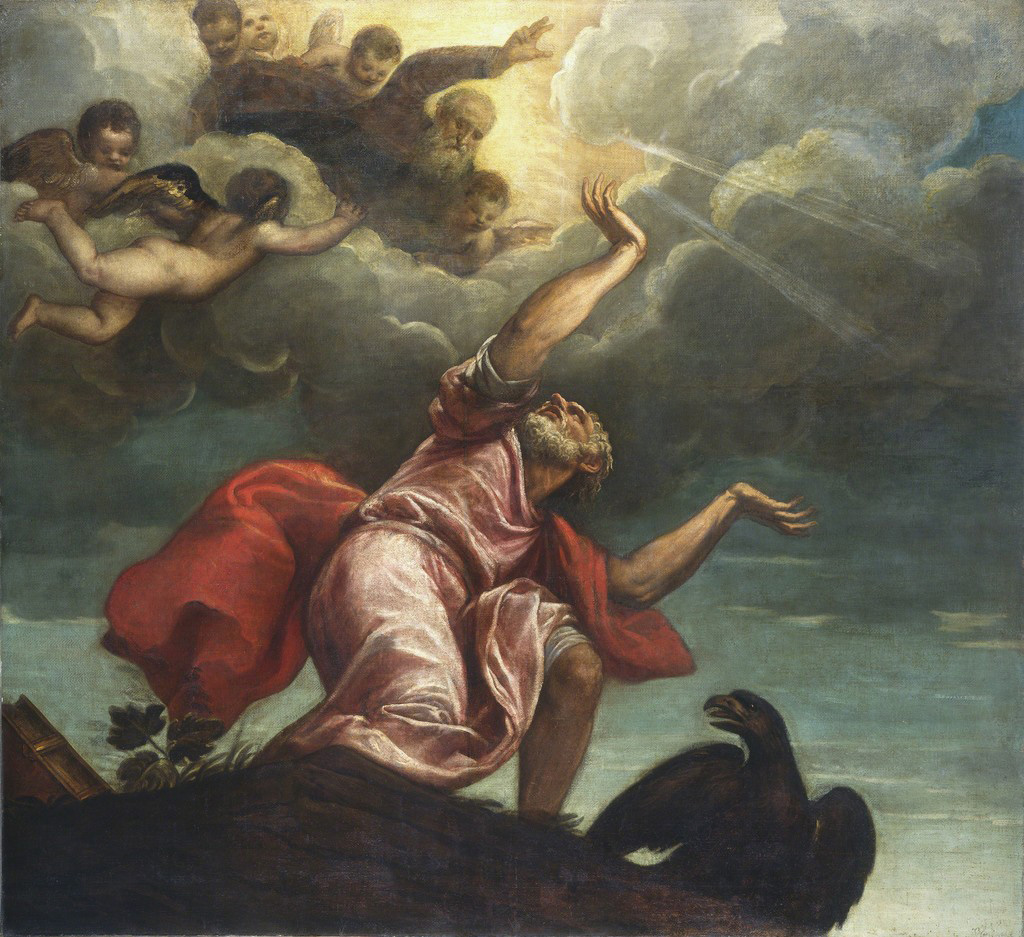 Tiziano, San Giovanni Evangelista a Patmos (1547 circa; olio su tela, 237,6 x 263 cm; Washington, National Gallery of Art)