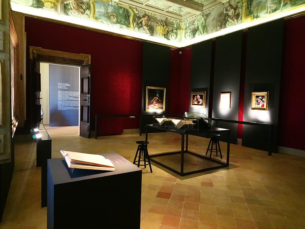 Una sala della mostra: da notare il rispetto totale e l'ingombro minimo degli ambienti storici di Palazzo Buonaccorsi