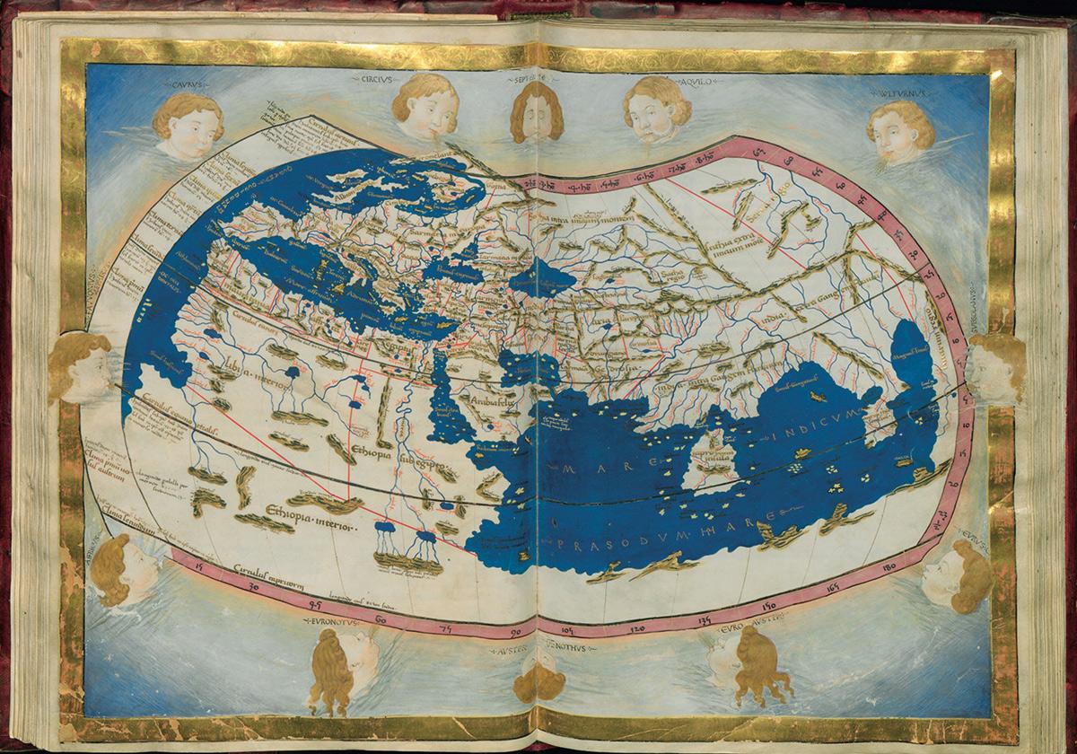 Claudio Tolomeo, Cosmographia: raffigurazione dell'ecumene (1466-1468; manoscritto membranaceo, con la traduzione di Jacopo Angeli; Firenze, Biblioteca Medicea Laurenziana)