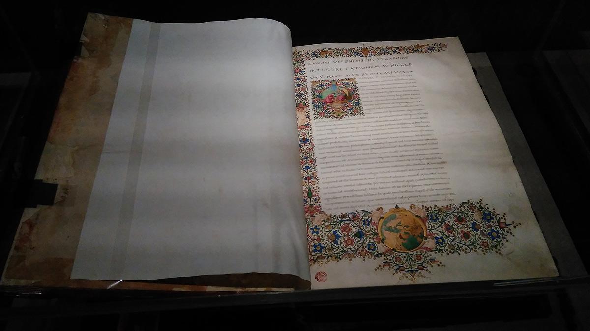 Strabone, De situ orbis (manoscritto membranaceo miniato del XV secolo; Firenze, Biblioteca Medicea Laurenziana)