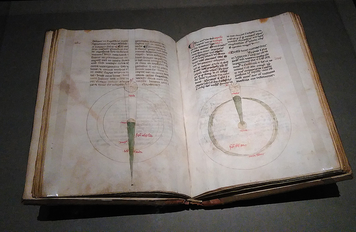 Giovanni Sacrobosco, Tractatus de Sphaera: diagrammi sulle relazioni Sole-Terra-Luna (XIV secolo; manoscritto membranaceo; Firenze, Biblioteca Medicea Laurenziana)
