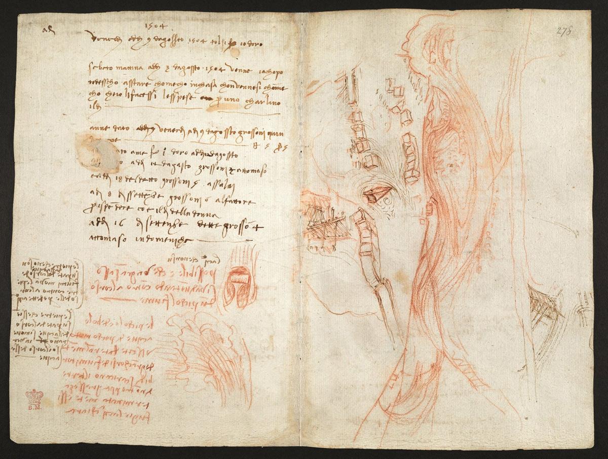 Leonardo da Vinci, Studi per la canalizzazione dell'Arno, Codice Arundel, fogli 271v-278r (1504 circa; matita rossa, penna e inchiostro; Londra, British Library)