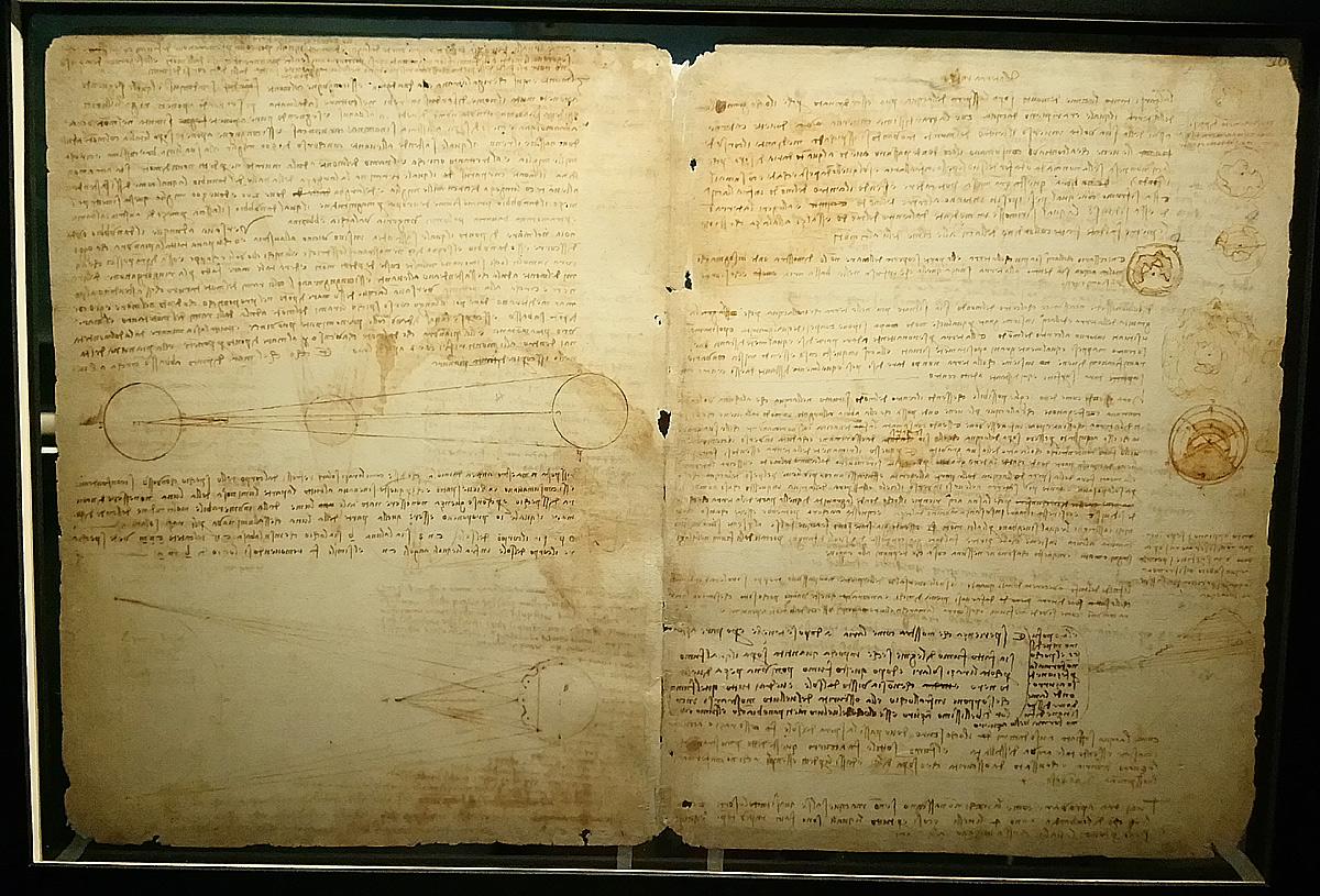 Leonardo da Vinci, Codice Leicester, fogli 1v-36r (1506-1510; manoscritto su carta; Collezione privata). Courtesy Bill Gates