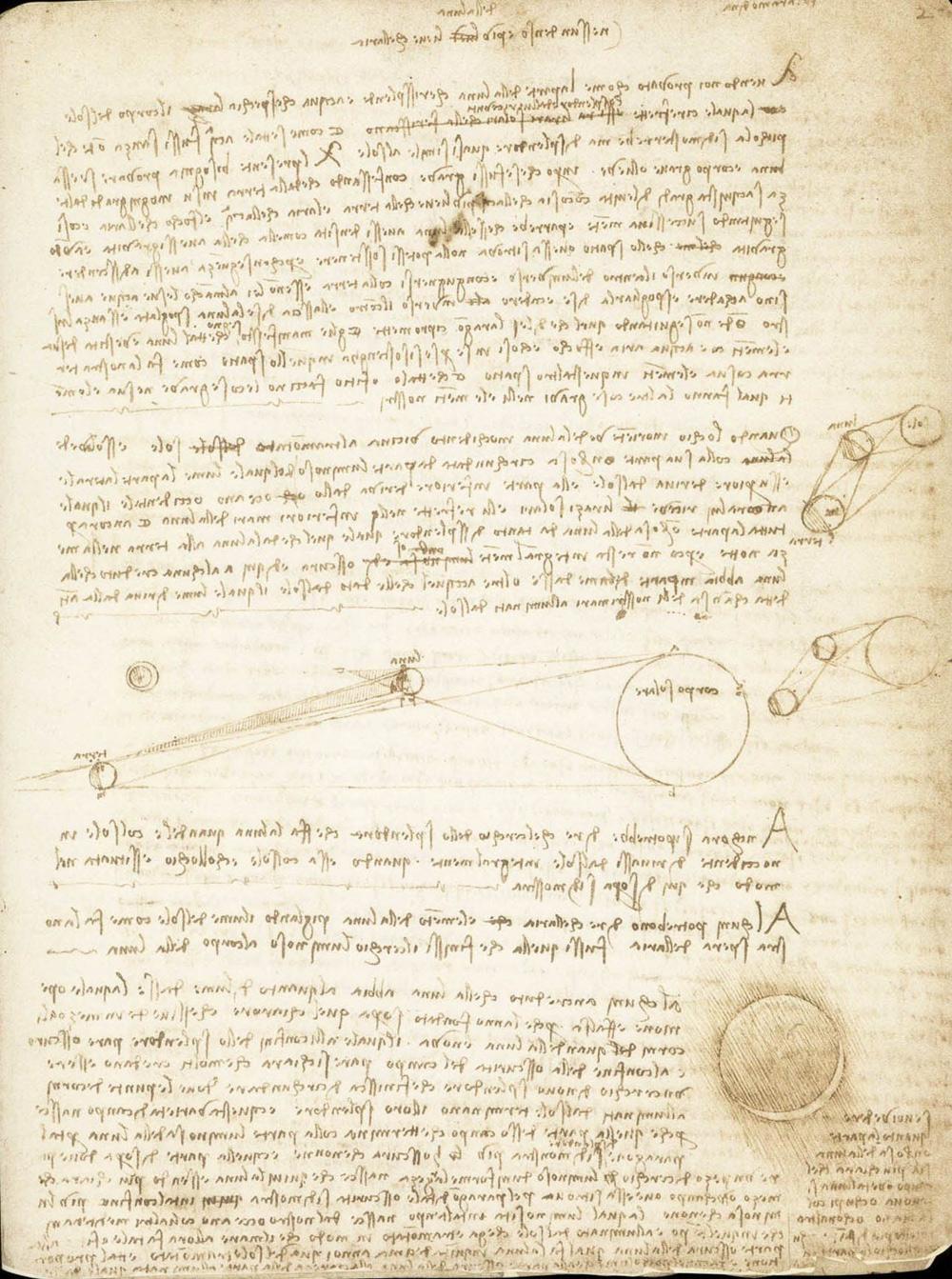 Leonardo da Vinci, Codice Leicester, foglio 2r (1506-1510; manoscritto su carta; Collezione privata). Courtesy Bill Gates