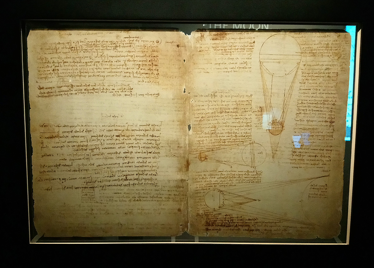 Leonardo da Vinci, Codice Leicester, fogli 36v-1r (1506-1510; manoscritto su carta; Collezione privata). Courtesy Bill Gates