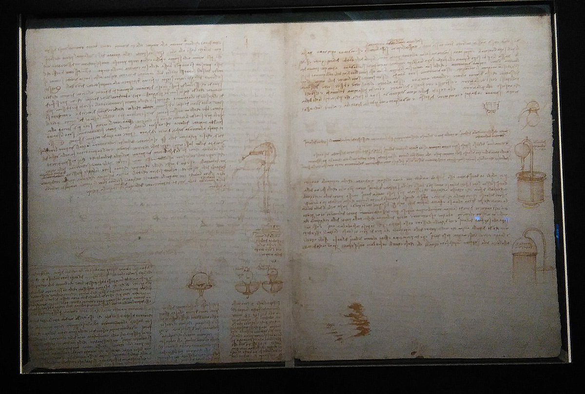 Leonardo da Vinci, Codice Leicester, fogli 3v-34r (1506-1510; manoscritto su carta; Collezione privata). Courtesy Bill Gates