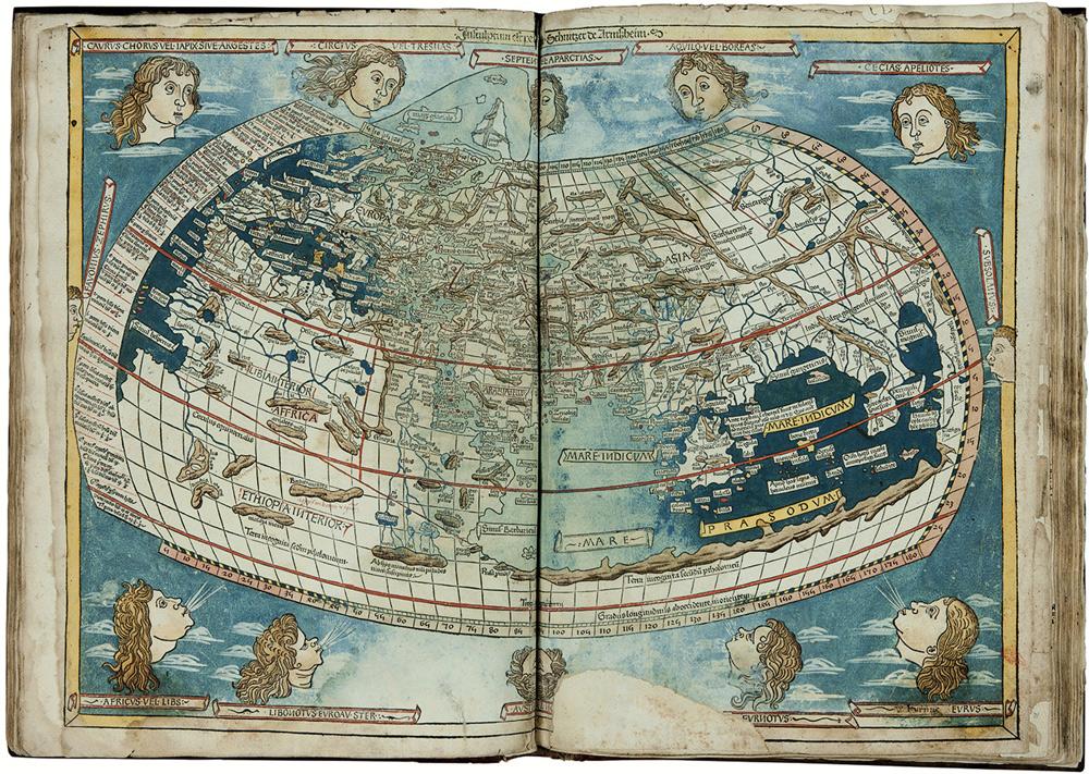 Claudio Tolomeo, Cosmographia: raffigurazione dell'ecumene (1482; stampa in xilografia su carta; Firenze, Biblioteca Medicea Laurenziana)