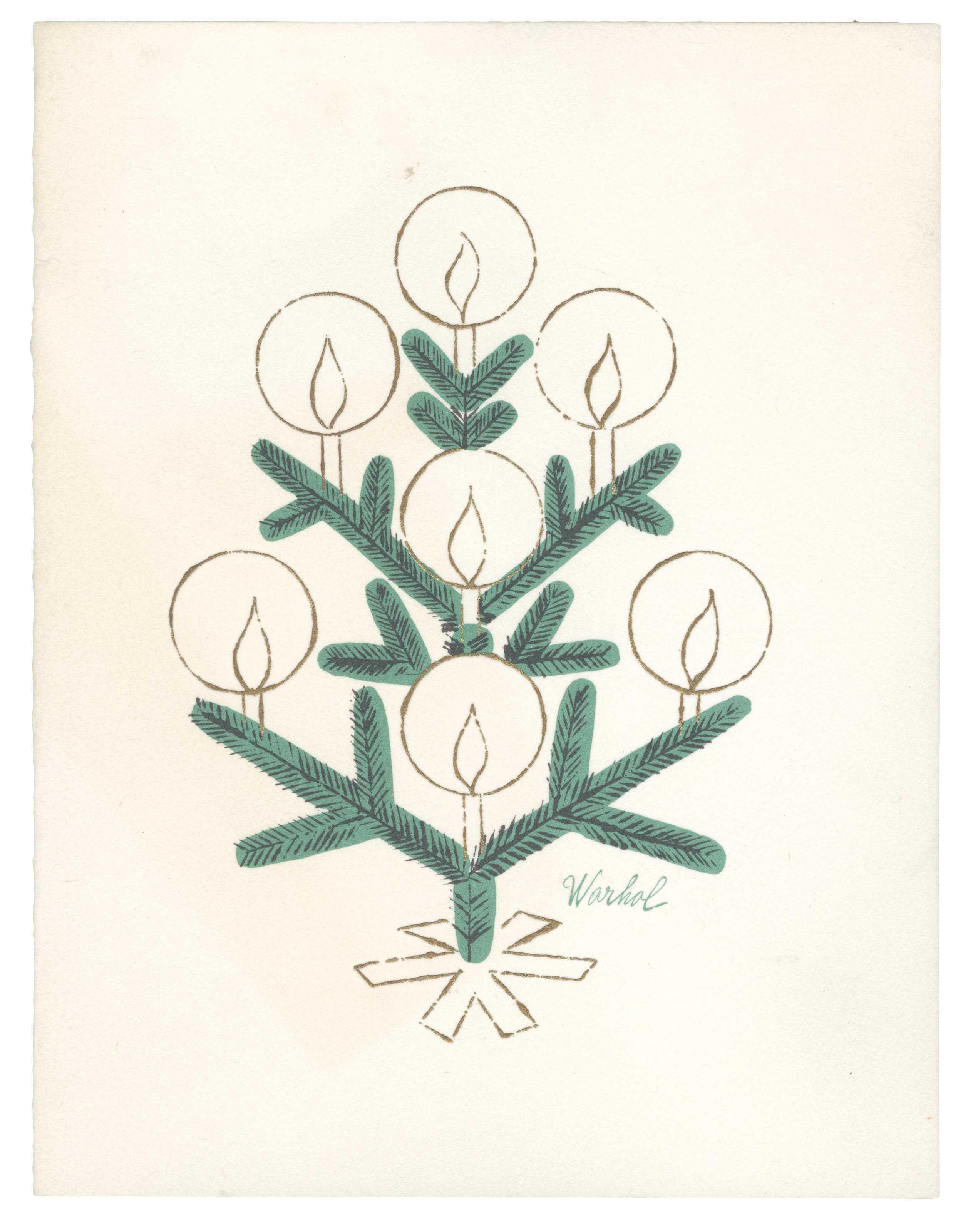 Andy Warhol, Tiffany & Co. Christmas Card (1956 circa; stampa a colori su cartoncino piegato, 14 x 10,8 cm; Collezione privata)